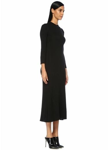 Theory Dik Yaka Ribli Yırtmaçlı Midi Triko Elbise Siyah